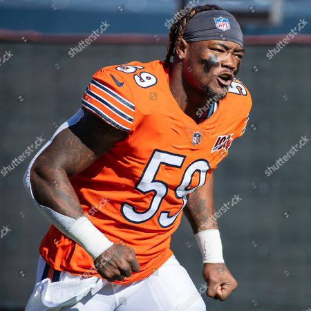 Chicago, Illinois, U.S. - Bears #59 Danny Trevathan runs on to the field before the NFL Game between the Los Angeles Chargers and Chicago Bears at Soldier Field in Chicago, IL. Photographer: Mike Wulf