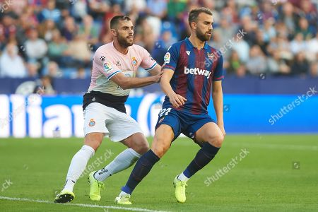 Borja Mayoral of Levante and David Lopez of Espanyol