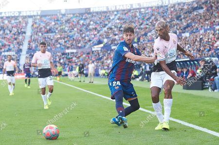 Jose Angel Gomez Campana of Levante and Edinaldo Gomes, Naldo of Espanyol