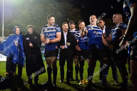 Stock Photo of Jack Walker of Bath Rugby celebrates in a post-match huddle