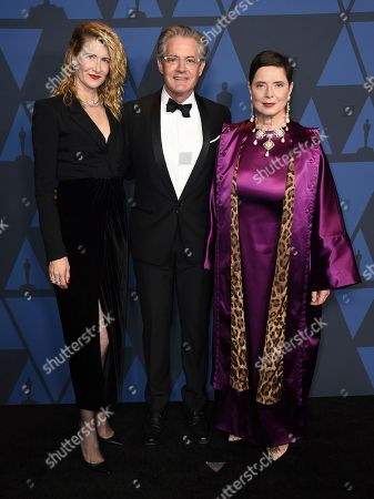 Laura Dern, Kyle MacLachlan, Isabella Rossellini. Laura Dern, from left, Kyle MacLachlan and Isabella Rossellini arrive at the Governors Awards, at the Dolby Ballroom in Los Angeles