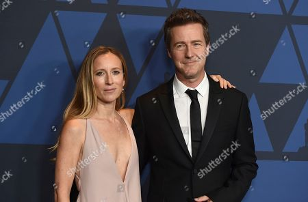 Shauna Robertson, Ed Norton. Shauna Robertson, left, and Ed Norton arrive at the Governors Awards, at the Dolby Ballroom in Los Angeles