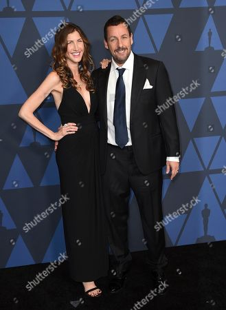 Adam Sandler, Jackie Sandler. Adam Sandler, right, and Jackie Sandler arrive at the Governors Awards, at the Dolby Ballroom in Los Angeles