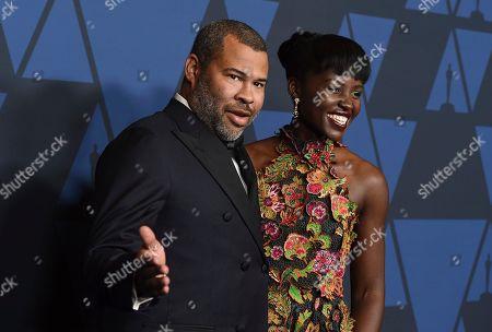 Jordan Peele, Lupita Nyong'o. Jordan Peele, left, and Lupita Nyong'o arrive at the Governors Awards, at the Dolby Ballroom in Los Angeles