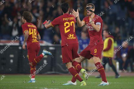 Javier Pastore (AS ROMA), Edin Dzeko (AS ROMA) celebrates Zaniolo goal