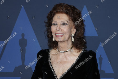 Sophia Loren poses on the red carpet prior the 11th Annual Governors Awards at the Dolby Theater in Hollywood, California, USA, 27 October 2019.