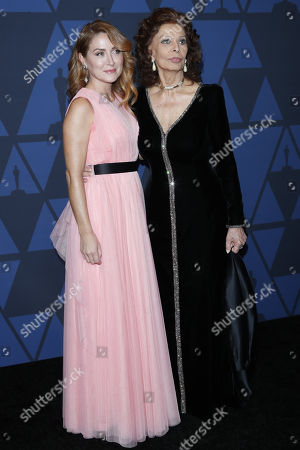 Sophia Loren (R) and her daughter-in-law US-Serbian actress Sasha Alexander pose on the red carpet prior the 11th Annual Governors Awards at the Dolby Theater in Hollywood, California, USA, 27 October 2019.