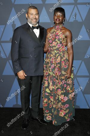 Lupita Nyong'o (R) and US actor and director Jordan Peele (L) pose on the red carpet prior the 11th Annual Governors Awards at the Dolby Theater in Hollywood, California, USA, 27 October 2019.