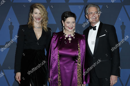 Laura Dern, Italian actress Isabella Rossellini and US actor Kyle MacLachlan pose on the red carpet prior the 11th Annual Governors Awards at the Dolby Theater in Hollywood, California, USA, 27 October 2019.