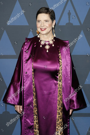 Isabella Rossellini poses on the red carpet prior the 11th Annual Governors Awards at the Dolby Theater in Hollywood, California, USA, 27 October 2019.