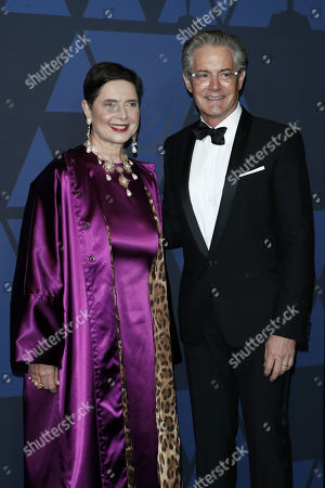 Isabella Rossellini (L) and US actor Kyle MacLachlan (R) pose on the red carpet prior the 11th Annual Governors Awards at the Dolby Theater in Hollywood, California, USA, 27 October 2019.