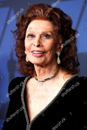 Sophia Loren poses on the red carpet prior to the 11th Annual Governors Awards at the Dolby Theater in Hollywood, California, USA, 27 October 2019.
