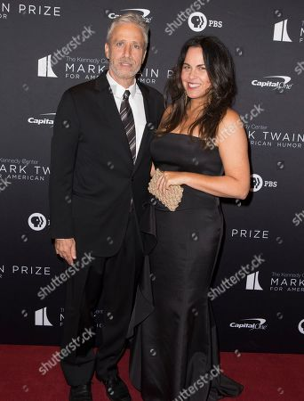 Jon Stewart, Tracey McShane. Jon Stewart, left, with his wife Tracey McShane arrive at the Kennedy Center for the Performing Arts for the 22nd Annual Mark Twain Prize for American Humor presented to Dave Chappelle, in Washington, D.C