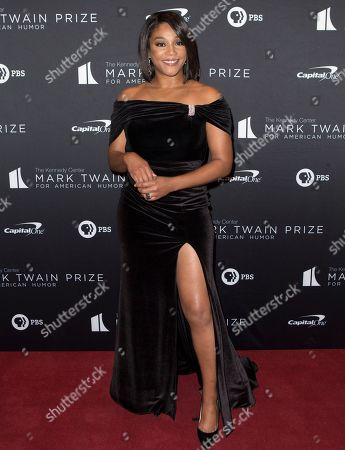 Tiffany Haddish arrives at the Kennedy Center for the Performing Arts for the 22nd Annual Mark Twain Prize for American Humor presented to Dave Chappelle, in Washington