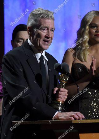David Lynch accepts his honorary award at the Governors Awards, at the Dolby Ballroom in Los Angeles