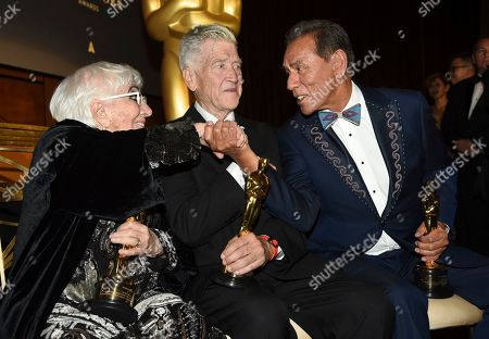 Geena Davis, Lina Wertmuller, David Lynch, Wes Studi. Honorees Lina Wertmuller, fro left, David Lynch and Wes Studi speak following the Governors Awards, at the Dolby Ballroom in Los Angeles