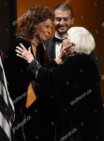Sophia Loren, Lina Wertmuller. Sophia Loren, left, and honoree Lina Wertmuller appear on stage at the Governors Awards, at the Dolby Ballroom in Los Angeles