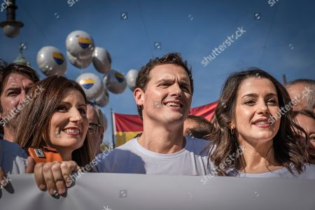 Lorena Roldán, Albert Rivera and Ines Arrimadas Garcia all leaders of the center-right Ciudadanos (Cs) party during the demonstration.