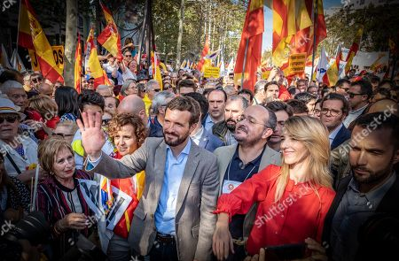 Pablo Casado, Alejandro Fernandez, and Cayetana Álvarez de Toledo, all leaders of the Spanish Popular Party (PP) are seen during the demonstration.