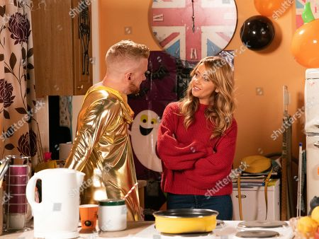 Ep 9912 Thursday 31st October 2019  Tyrone invites Maria Connor, as played by Samia Longchambon, and Gary Windass, as played by Mikey North, to a Halloween party at No.9. To Maria's amusement, Gary arrives wearing a zentai gold bodysuit. When Gary suggests they could meet for lunch, Maria readily accepts and Gary's pleased.