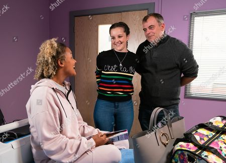 Ep 9917 Wednesday 6th November 2019 - 1st Ep Steve Mcdonald, as played by Simon Gregson, and Amy Barlow, as played by Elle Mulvaney, collect Emma, as played by Alexandra Mardell, from hospital and Emma agrees to stay with them.