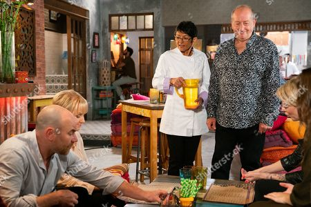 Stock Image of Ep 9911 Wednesday 30th October 2019 - 2nd Ep Clearly enjoying his new owner status, Geoff Metcalfe, as played by Ian Bartholomew, invites Sally Metalfe, as played by Sally Dynevor, Tim Metcalfe, as played by Joe Duttine, Abi Franklyn, as played by Sally Carman, and Faye to join he and Yasmeen Nazir, as played by Shelley King, for dinner at Speed Daal. When Geoff announces he's nipping out for some wine, Yasmeen worries that Alya will disapprove.