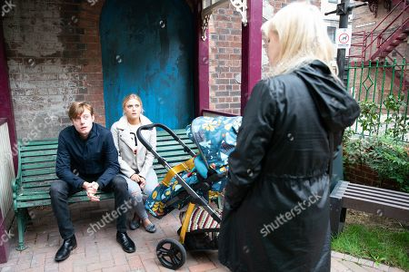 Stock Photo of Ep 9908 Monday 28th October 2019 - 1st Ep Beth Tinker, as played by Lisa George, finds Bethany Platt, as played by Lucy Fallon, comforting Daniel Osbourne, as played by Rob Mallard, in Victoria Garden she accuses them of having an affair before Sinead is even cold.