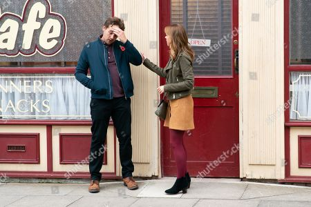 Ep 9913 Friday 1st November 2019  Toyah Battersby, as played by Georgia Taylor, urges Ali Neeson, as played by James Burrows, to tell Maria how he feels but is he too late?