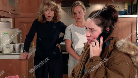 Ep 9919 Thursday 7th November 2019 As an excited Shona Ramsey, as played by Julia Goulding, tells Gail Rodwell, as played by Helen Worth, and Sarah Platt, as played by Tina O'Brien, that David will soon be released and the wedding is back on they exchange doubtful looks.