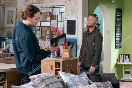 Ep 9920 Friday 8th November 2019 - 1st Ep Ali Neeson, as played by James Burrows, calls at the salon flat but is taken aback to find Gary Windass, as played by Mikey North, there alone. Fronting it out, Ali pulls out the ledger and tells Gary that he's sure Maria will be interested to see that he's been operating as a loan shark.