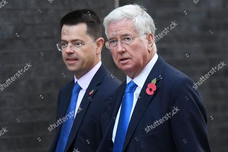 James Brokenshire MP and Sir Michael Fallon MP arriving at No.10 Downing Street, London.