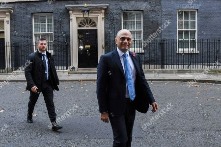 Britain's Chancellor of the Exchequer Sajid Javid leaves 11 Downing Street, in London