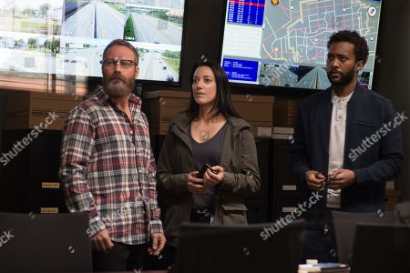 Stock Picture of Ryan Robbins as Noah Funk, Zoie Palmer as Valerie Krochack and Dalmar Abuzeid as Winston Lee