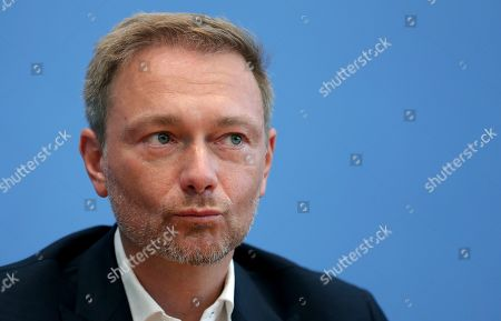 Christian Lindner, chairman of the German Free Democratic Party (FDP), addresses the media during a press conference in Berlin, Germany, one day after the state elections in the German state of Thuringia