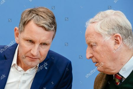 Thuringia chairman and top candidate of the Alternative for Germany (AfD) right-wing populist party Bjoern Hoecke (L) and Federal co-chairman of the AfD party Alexander Gauland (R) attend a press conference on the result of the Thuringia state elections in Berlin, Germany, 28 October 2019. The AfD party finished second in Thuringia state elections with 23.4 percent of the total votes, gaining 12.8 percent more than the last time.