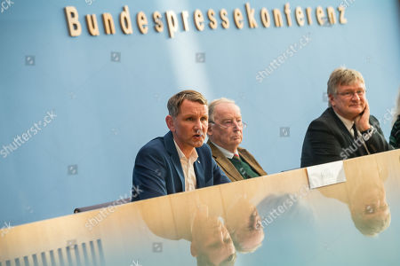 (L-R) Thuringia chairman and top candidate of the Alternative for Germany (AfD) right-wing populist party Bjoern Hoecke, Federal co-chairman of the AfD party Alexander Gauland, and Federal co-chairman of the AfD party Joerg Meuthen during a press conference on the result of the Thuringia state elections in Berlin, Germany, 28 October 2019. The AfD party finished second in Thuringia state elections with 23.4 percent of the total votes, gaining 12.8 percent more than the last time.