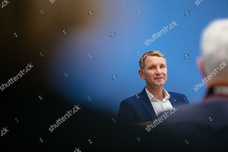Thuringia chairman and top candidate of the Alternative for Germany (AfD) right-wing populist party Bjoern Hoecke attends a press conference on the result of the Thuringia state elections in Berlin, Germany, 28 October 2019. The AfD party finished second in Thuringia state elections with 23.4 percent of the total votes, gaining 12.8 percent more than the last time. According to the Statistical Office of Thuringia, some 1.73 million people are eligible to vote in the regional elections for a new parliament in the German federal state of Thuringia.