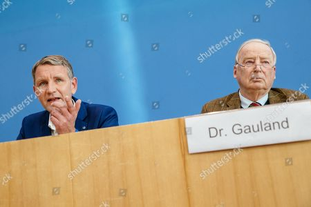 Thuringia chairman and top candidate of the Alternative for Germany (AfD) right-wing populist party Bjoern Hoecke (L) and Federal co-chairman of the AfD party Alexander Gauland (R) attend a press conference on the result of the Thuringia state elections in Berlin, Germany, 28 October 2019. The AfD party finished second in Thuringia state elections with 23.4 percent of the total votes, gaining 12.8 percent more than the last time. According to the Statistical Office of Thuringia, some 1.73 million people are eligible to vote in the regional elections for a new parliament in the German federal state of Thuringia.