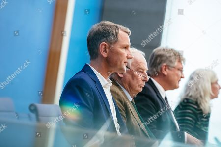 (L-R) Thuringia chairman and top candidate of the Alternative for Germany (AfD) right-wing populist party Bjoern Hoecke, Federal co-chairmen of the AfD party Alexander Gauland and Joerg Meuthen attend a press conference on the result of the Thuringia state elections in Berlin, Germany, 28 October 2019. The AfD party finished second in Thuringia state elections with 23.4 percent of the total votes, gaining 12.8 percent more than the last time.