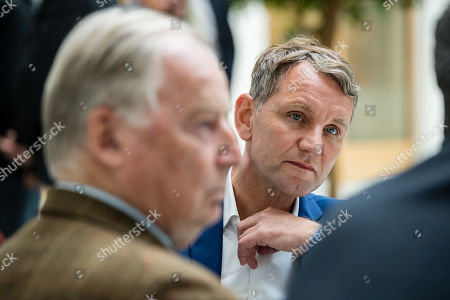 Federal co-chairman of the AfD party Alexander Gauland (L), and Thuringia chairman and top candidate of the Alternative for Germany (AfD) right-wing populist party Bjoern Hoecke (R) prior a press conference on the result of the Thuringia state elections in Berlin, Germany, 28 October 2019. The AfD party finished second in Thuringia state elections with 23.4 percent of the total votes, gaining 12.8 percent more than the last time.