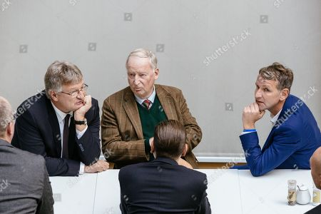 (L-R) Federal co-chairmen of the AfD party Joerg Meuthen, Alexander Gauland and Thuringia chairman and top candidate of the Alternative for Germany (AfD) right-wing populist party Bjoern Hoecke talk prior to a press conference on the result of the Thuringia state elections in Berlin, Germany, 28 October 2019. The AfD party finished second in Thuringia state elections with 23.4 percent of the total votes, gaining 12.8 percent more than the last time.
