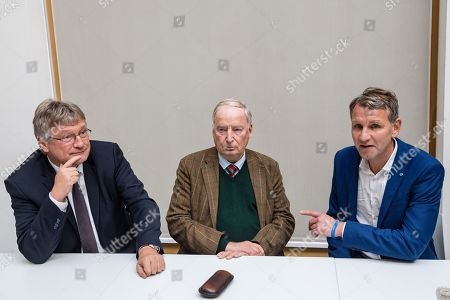 Stock Picture of (L-R) Federal co-chairman of the AfD party Joerg Meuthen, Federal co-chairman of the AfD party Alexander Gauland, and Thuringia chairman and top candidate of the Alternative for Germany (AfD) right-wing populist party Bjoern Hoecke, prior a press conference on the result of the Thuringia state elections in Berlin, Germany, 28 October 2019. The AfD party finished second in Thuringia state elections with 23.4 percent of the total votes, gaining 12.8 percent more than the last time.