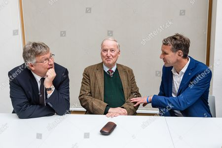 (L-R) Federal co-chairman of the AfD party Joerg Meuthen, Federal co-chairman of the AfD party Alexander Gauland, and Thuringia chairman and top candidate of the Alternative for Germany (AfD) right-wing populist party Bjoern Hoecke, prior a press conference on the result of the Thuringia state elections in Berlin, Germany, 28 October 2019. The AfD party finished second in Thuringia state elections with 23.4 percent of the total votes, gaining 12.8 percent more than the last time.