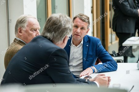 (L-R) Federal co-chairman of the AfD party Alexander Gauland, Federal co-chairman of the AfD party Joerg Meuthen, and Thuringia chairman and top candidate of the Alternative for Germany (AfD) right-wing populist party Bjoern Hoecke, prior a press conference on the result of the Thuringia state elections in Berlin, Germany, 28 October 2019. The AfD party finished second in Thuringia state elections with 23.4 percent of the total votes, gaining 12.8 percent more than the last time.