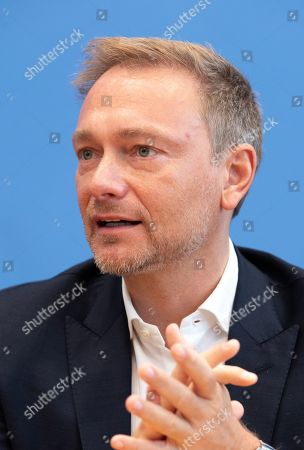 Stock Photo of Chairman of German Free Democratic (FDP) party Christian Lindner speaks during a press conference on the result of the Thuringia state elections in Berlin, Germany, 28 October 2019. The FDP party finished sixth in Thuringia state elections with 5 percent of the total votes, gaining 2.5 percent more than the last time. According to the Statistical Office of Thuringia, some 1.73 million people are eligible to vote in the regional elections for a new parliament in the German federal state of Thuringia.