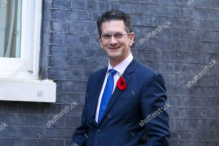 Chairman of European Research Group (ERG) Steve Baker arrives in Downing Street. Later today MPs will vote on Boris Johnson's motion on a general election in December 2019.