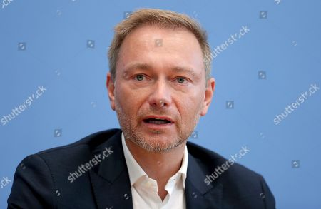 Stock Picture of Christian Lindner, chairman of the German Free Democratic Party (FDP), addresses the media during a press conference in Berlin, Germany, one day after the state elections in the German state of Thuringia