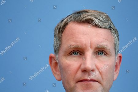 Bjoern Hoecke, top candidate of the Alternative fuer Deutschland (AfD) party, attends a press conference in Berlin, Germany, one day after the state elections in the German state of Thuringia