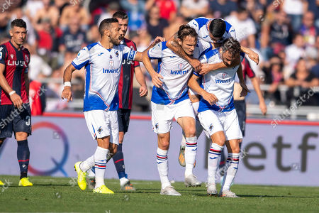 "Manolo Gabbiadini (Sampdoria) Fabio De Paoli (Sampdoria) Fabio Quagliarella (Sampdoria) Albin Ekdal (Sampdoria) celebrates after scoring his team's first goal during the Italian ""Serie A"" match between Bologna 2-1 Sampdoria at Renato Dall Ara Stadium on October 27, 2019 in Bologna, Italy."