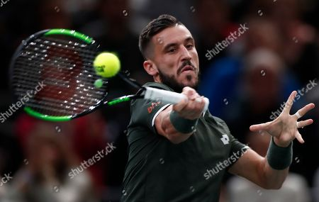Damir Dzumhur of Bosnia Herzegovina in action during his match against Benoit Paire of France at the Rolex Paris Masters tennis tournament in Paris, France, 28 October 2019.